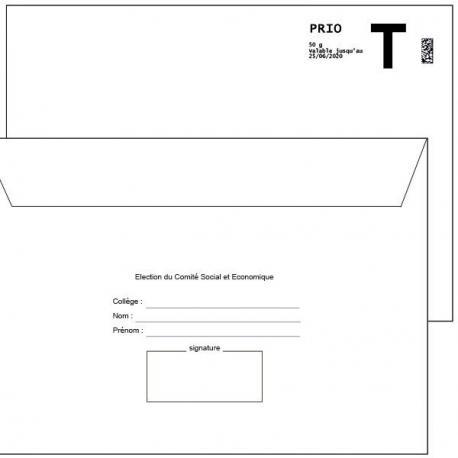 """Enveloppe Retour Lettre T 162x229 mm + émargement à compléter """"COMITE SOCIAL ET ECONOMIQUE"""""""