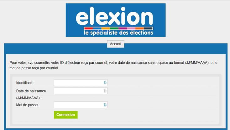 Connexion vote électronique